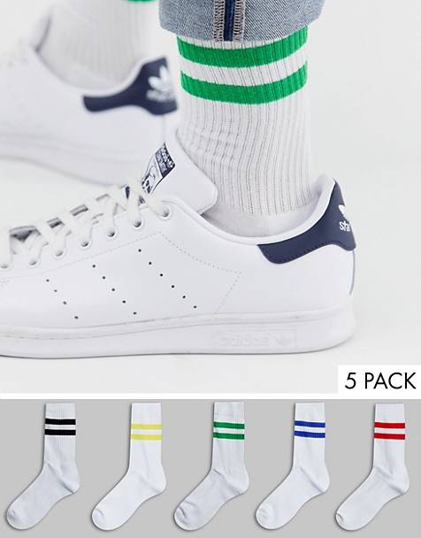 ASOS DESIGN 5 pack sport socks in white with primary color stripes save