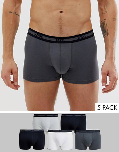 ASOS DESIGN 5 pack trunks in monochrome with branded textured waistband save