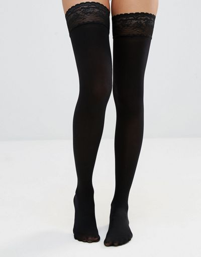 ASOS DESIGN 50 denier lace top hold ups