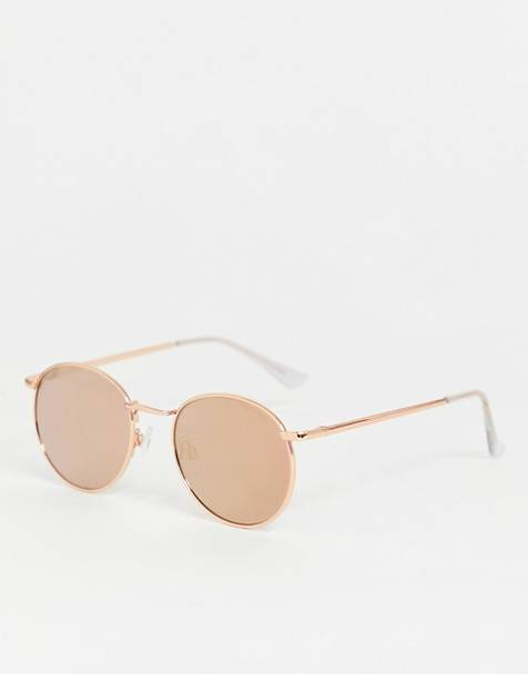 ASOS DESIGN 90s metal round sunglasses in rose gold flash lens