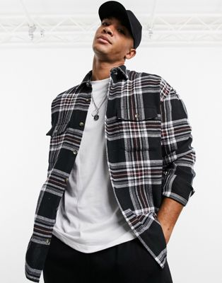 ASOS DESIGN regular revere satin shirt in monochrome newspaper print - ASOS Price Checker