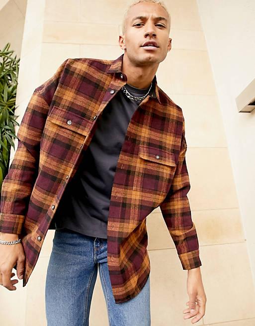 ASOS DESIGN 90s oversized wool heavy check shirt in burgundy