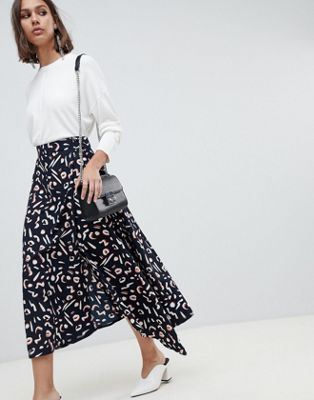 ASOS DESIGN abstract print wrap midi skirt with D-ring