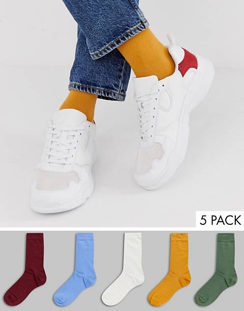ASOS DESIGN ankle socks in retro colors 5 pack