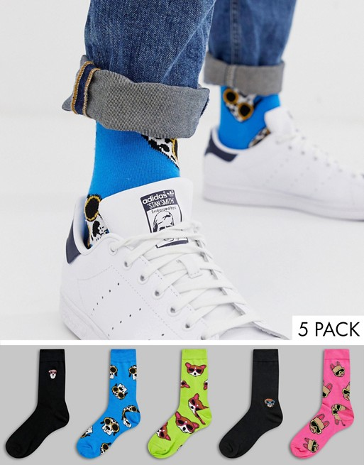 Image 1 of ASOS DESIGN ankle socks with dog print and placement embroidery 5 pack