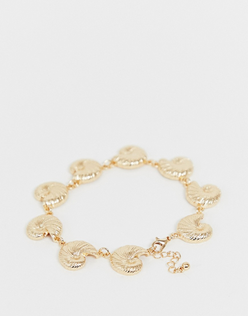 Asos Design Anklet With Metal Shell Pendants In Gold Tone by Asos Design