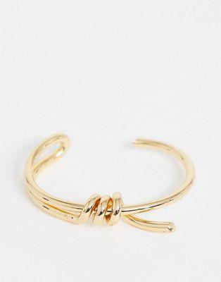 ASOS DESIGN - Armband met ijzerdraad-ontwerp in goudkleur