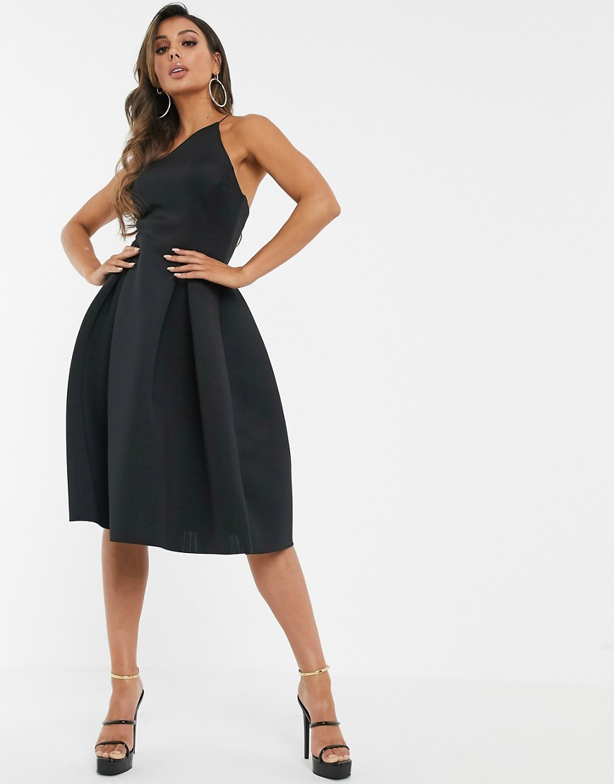 asos design asymmetric halter neck prom midi dress-black