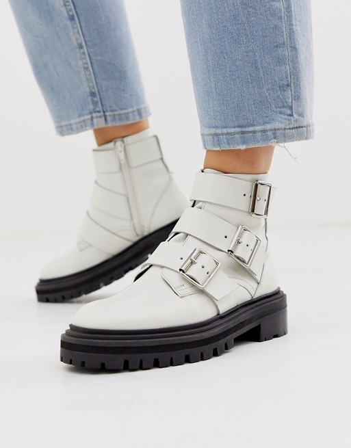 ASOS DESIGN Aviate premium leather biker boots in white