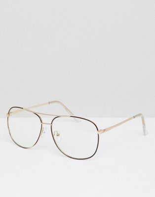 ASOS DESIGN Aviator Glasses In Rose Gold With Brown Edge Detail & Clear Lens