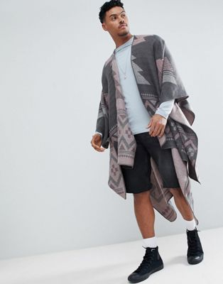 ASOS DESIGN Aztec Cape In Grey