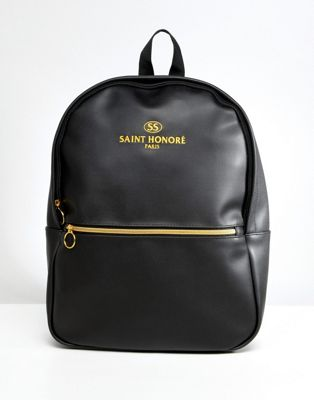 Image 1 of ASOS DESIGN backpack in faux leather in black with saint honore print