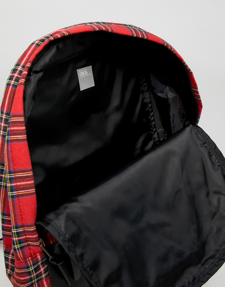 Asos Design Backpack In Red Plaid Check And Faux Leather Pocket by Asos Design