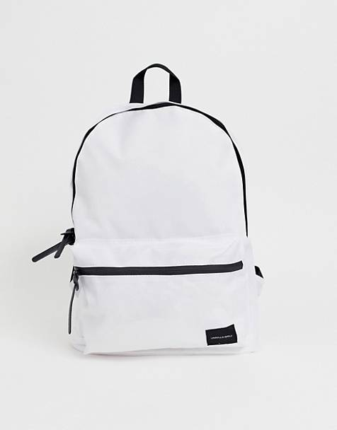 ASOS DESIGN backpack in white with contrast black zips