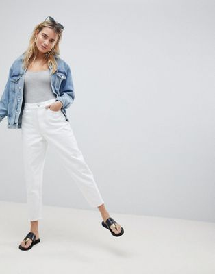 ASOS DESIGN Balloon Leg Boyfriend Jean In Optic White