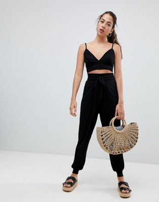 ASOS DESIGN balloon trousers with tie front