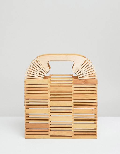 Image 1 of ASOS DESIGN bamboo square boxy clutch bag