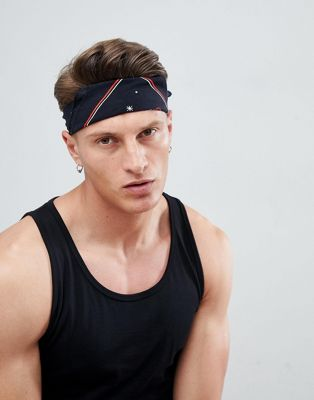 ASOS DESIGN Bandana In Black With Fast Food Print