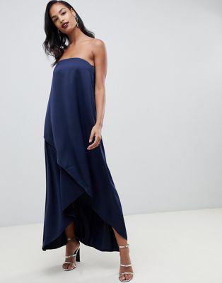 ASOS DESIGN – Bandeau-klänning i maximodell i satin