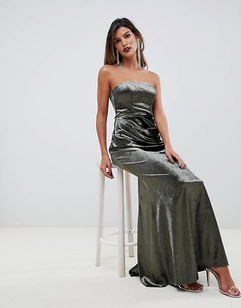 ASOS DESIGN bandeau maxi dress in drape velvet with fishtail hem