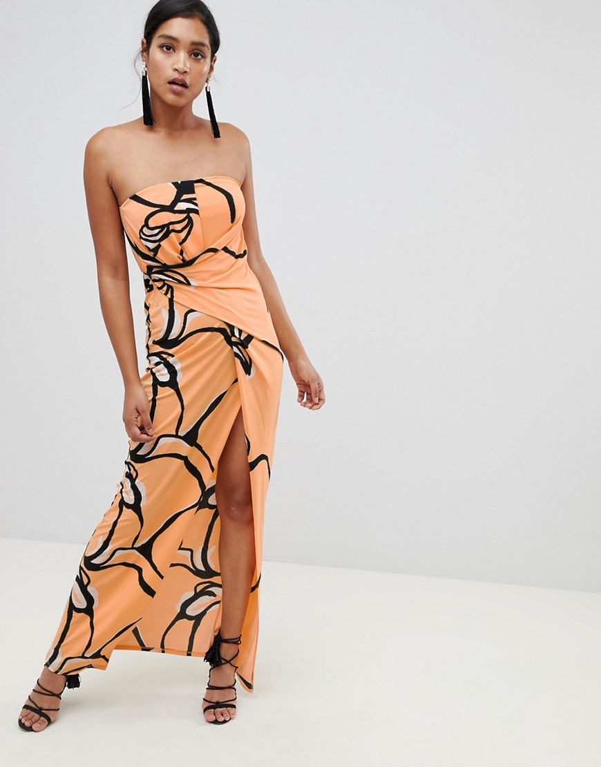 asos design bandeau printed maxi dress-orange