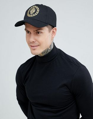 ASOS DESIGN baseball cap in black with embroidered detail