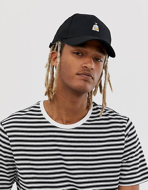 ASOS DESIGN baseball cap in black with motif embroidery