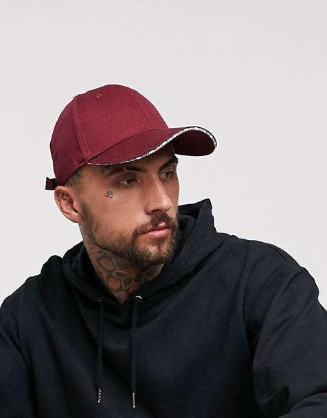 ASOS DESIGN baseball cap in burgundy with 'relax' sandwich peak