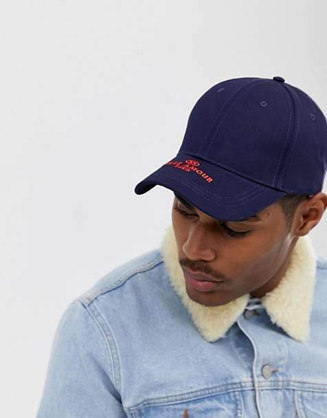 ASOS DESIGN baseball cap in navy with ville amour embroidery
