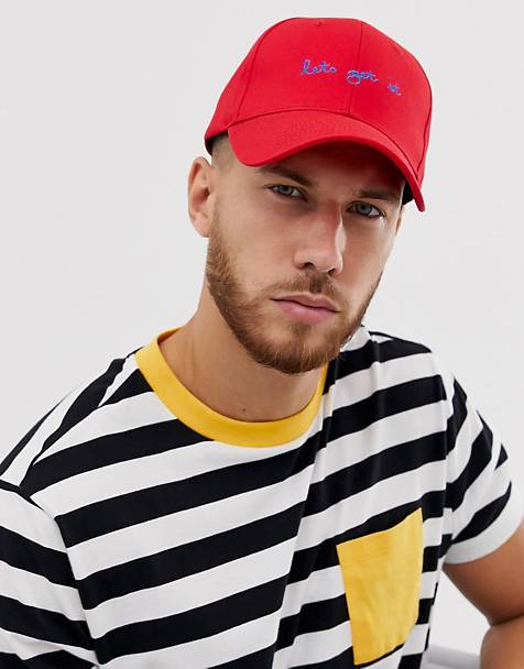 ASOS DESIGN baseball cap with 'lets get it' embroidery in red