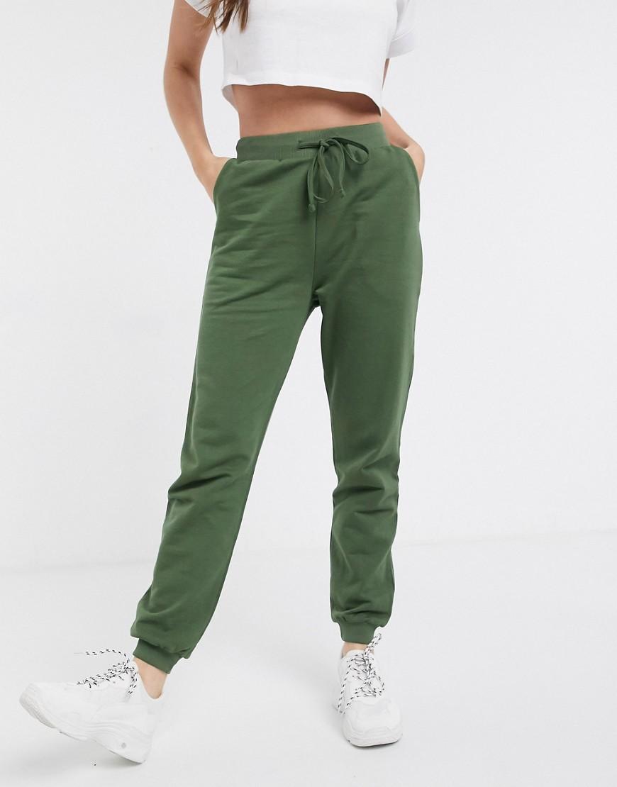 asos design -  – Basic-Jogginghose aus Bio-Baumwolle mit Bindedetail-Grün