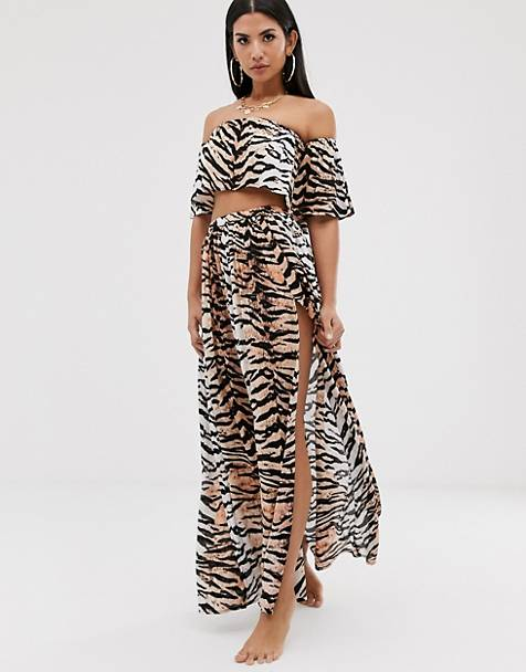 ASOS DESIGN beach two-piece maxi skirt in natural tiger print