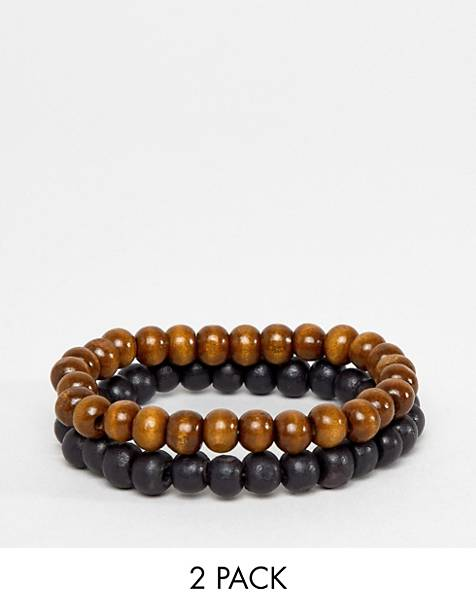 ASOS DESIGN beaded bracelet pack in black and brown