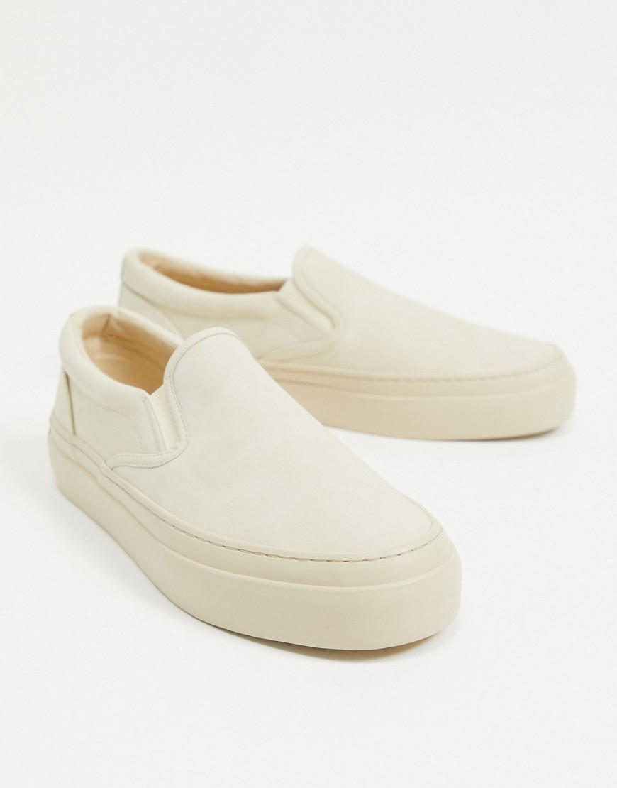 ASOS DESIGN - Beige slip-on lærredssko med chunky sål-Neutral