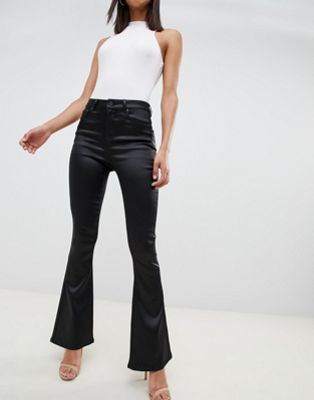 Image 1 of ASOS DESIGN bell flare in high shine stretch satine