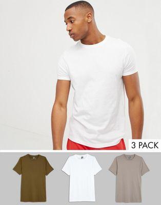 ASOS DESIGN – Bio-T-Shirt mit Rundhalsausschnitt im 3er-Set – RABATT