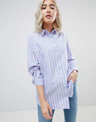 Bild 1 av ASOS DESIGN – Blå- och rosarandig oversize-skjorta med lång ärm