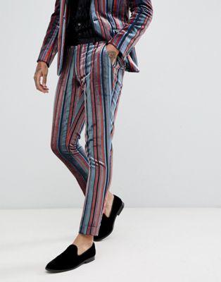 Bild 1 av ASOS DESIGN – Blå och vinröda kostymbyxor med extra smal passform i randig sammet