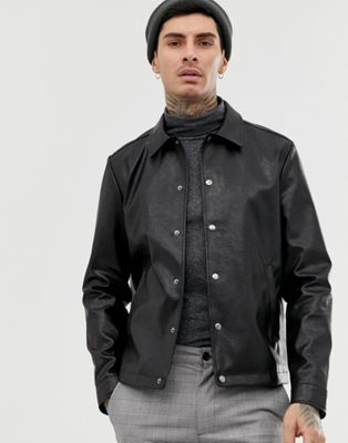 Image 1 of ASOS DESIGN black coach jacket in faux leather