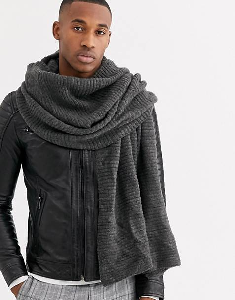ASOS DESIGN blanket scarf in charcoal thick rib