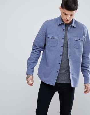 Bild 1 von ASOS DESIGN – Blaue Oversize-Hemdjacke aus gebürstetem Stoff
