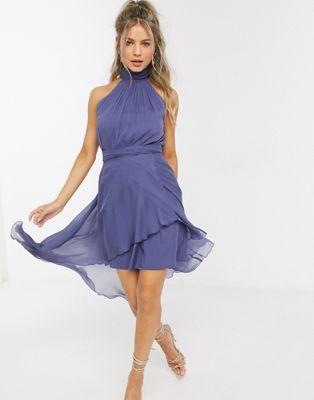 ASOS DESIGN – Blaues Neckholder-Kleid mit weichem