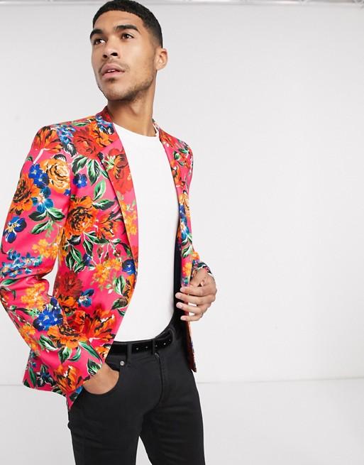ASOS DESIGN - Blazer super ajusté en jersey - Rose