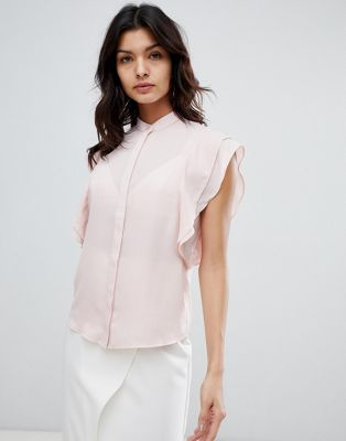 ASOS DESIGN blouse with frill shoulder