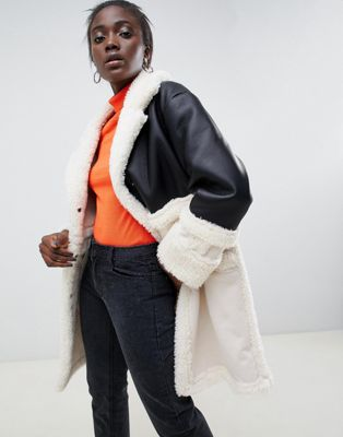 ASOS DESIGN - Blouson aviateur mi-long en imitation cuir