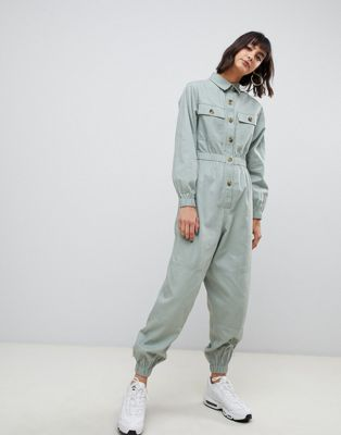 ASOS DESIGN boilersuit with contrast buttons