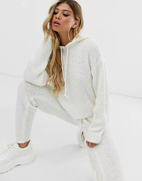 ASOS DESIGN borg knit two-piece hoody