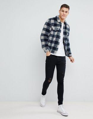 ASOS DESIGN borg western jacket in gray check