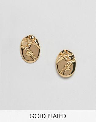 ASOS DESIGN - Boucles d'oreilles en métal effet froissé plaqué or