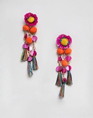 ASOS DESIGN - Boucles d'oreilles ornées de sequins avec pompons et fleurs